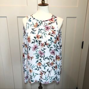 sioni white floral cold shoulder tie sleeve blouse